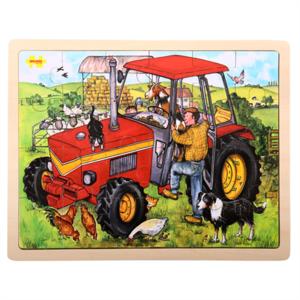 UITVERKOCHT. Houten tractor puzzel bigjigs