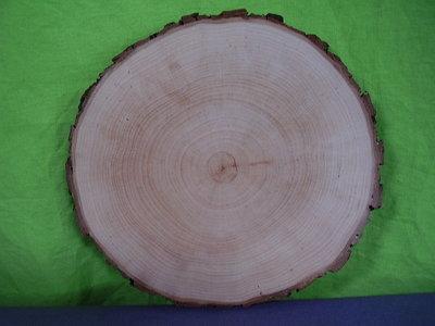 Houten  schorsplank rond 18/20 cm.