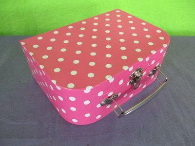 Kinder koffer roze met witte stip