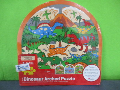 Houten puzzel 3 lagen dinosaurus.