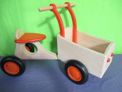 UITVERKOCHT. Houten bakfiets oranje Van Dijk Toys