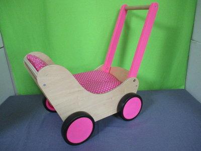 Houten poppenwagen roze simply