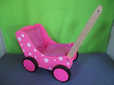 Houten poppenwagen roze stip